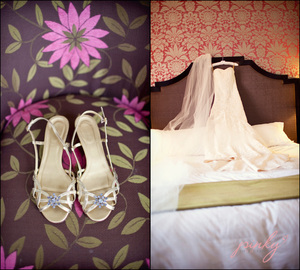 photo of Royal Hawaiian destination wedding- bride's wedding shoes and dress