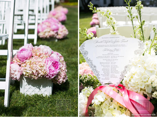 Peony pink and ivory wedding flower centerpieces