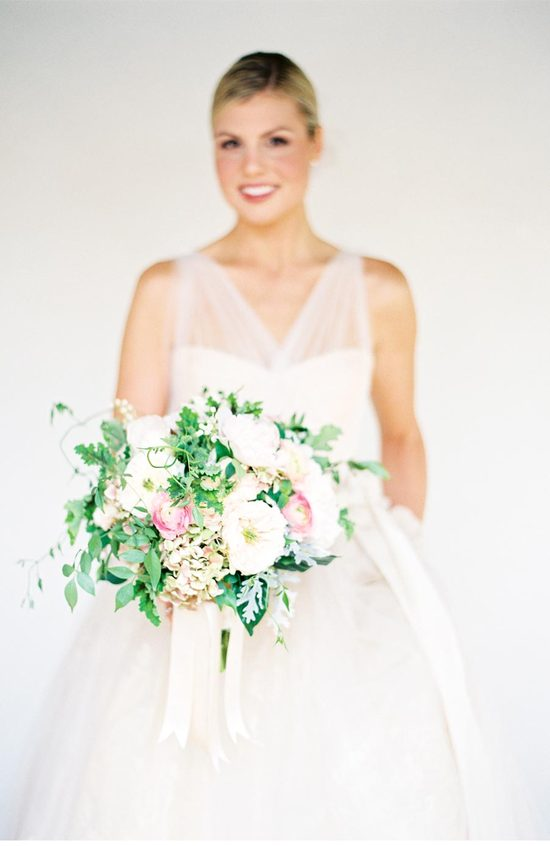 Emerald pink and cream wedding bouquet