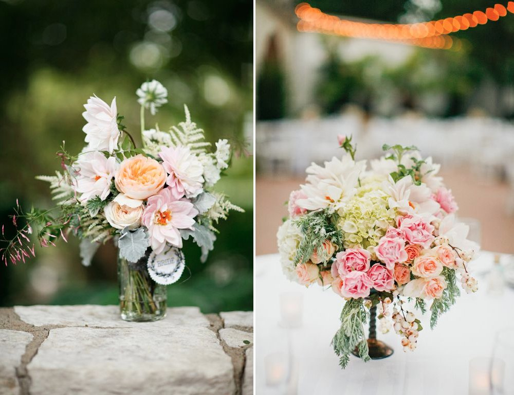 Carnation Pink Ivory Peach Wedding Flowers