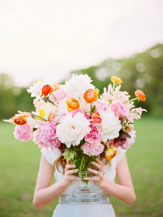 White Pale Pink Orange and Yellow wedding flowers
