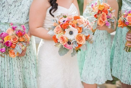 Peach orange sage wedding bouquet for summer
