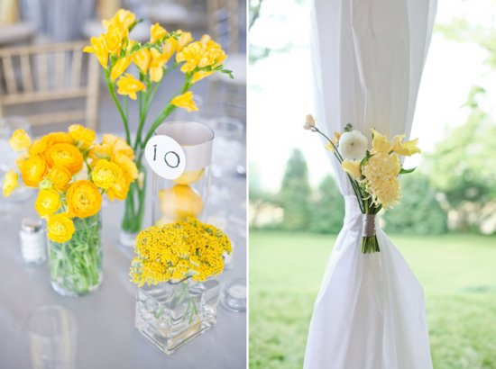 Lemon and Lime wedding flowers for summer