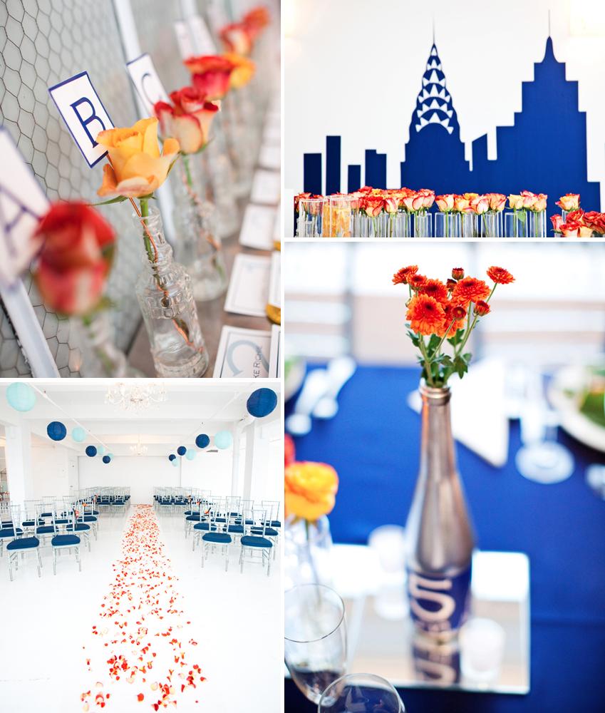 Wedding Decorations Blue And Orange : Cobalt blue orange yellow wedding flowers and decor onewed