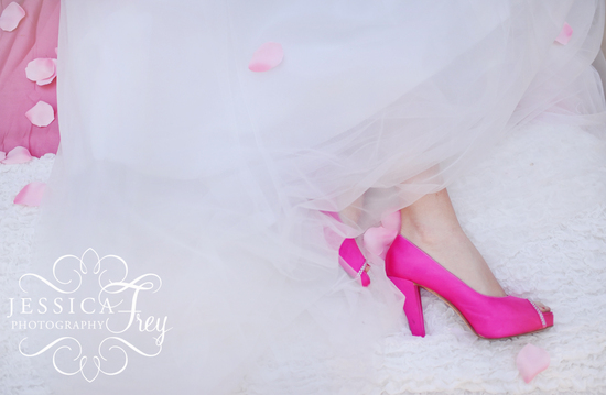 Hot pink satin wedding shoes