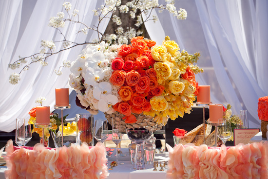 orange yellow white wedding centerpiece