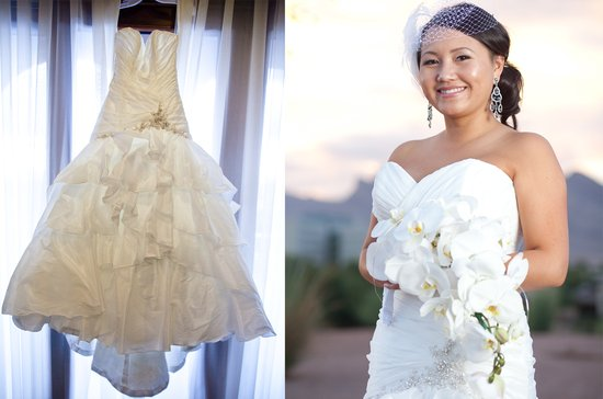 real las vegas wedding mermaid wedding dress birdcage veils