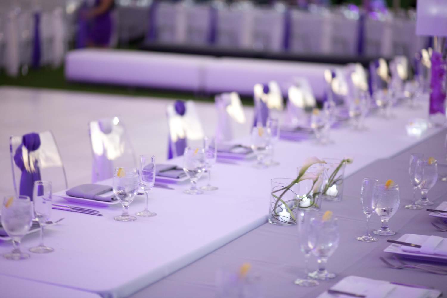 Purple Wedding Reception Table Decor Photograph Outdoor As