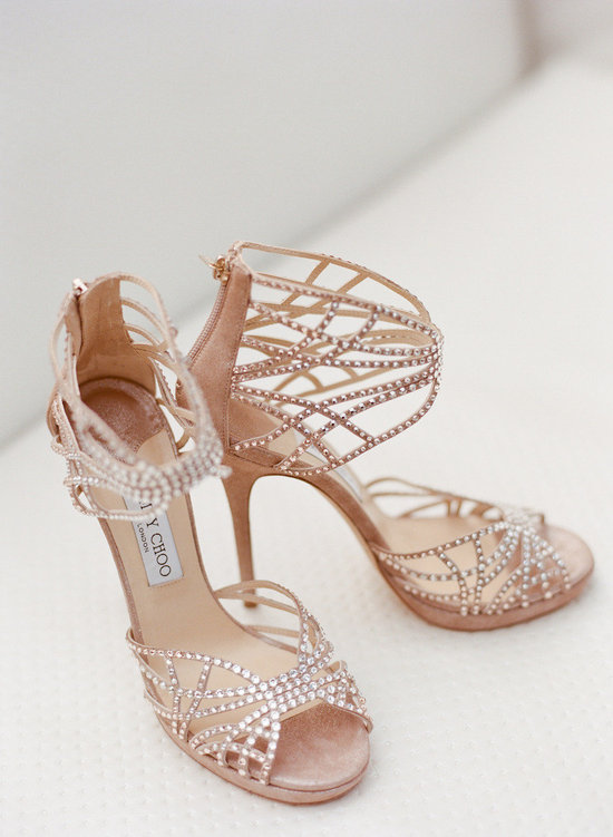 photo of Peach suede Jimmy Choo wedding shoes with crystals