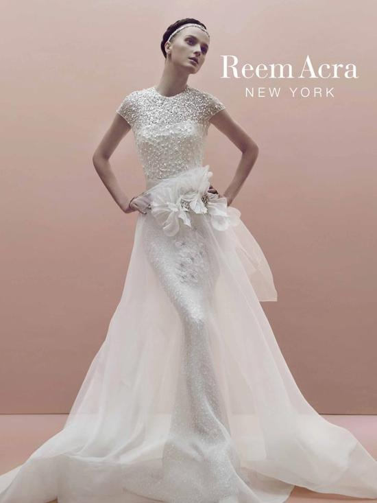 photo of Beaded mermaid wedding dress by Reem Acra