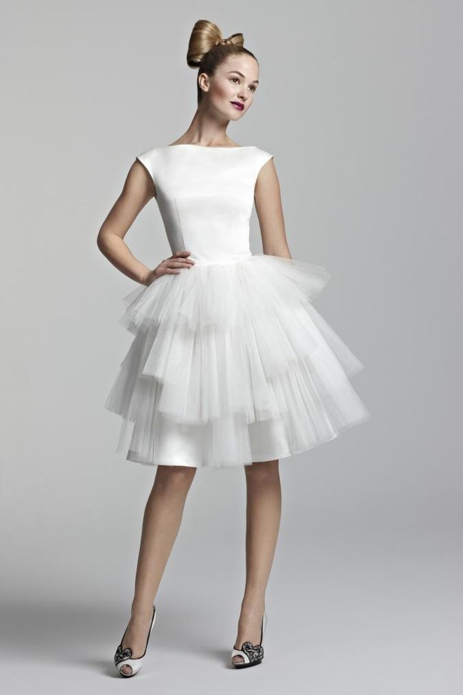 sleek short wedding reception dress girly knee length bridal frock