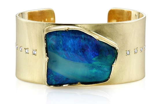 Gold sapphire and teal wedding cuff bracelet