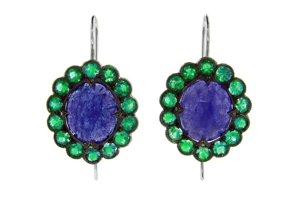 Emerald and sapphire wedding earrings