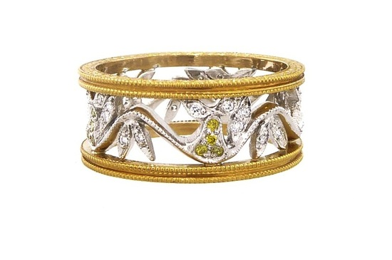 Unique white and yellow gold wedding band by Cathy Waterman