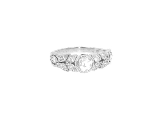 Rose cut diamond garland wedding band by Cathy Waterman