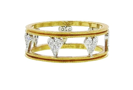 Gold and diamond heart wedding band by Cathy Waterman