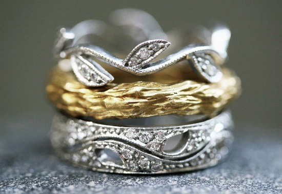 Cathy Waterman wedding bands in white and yellow gold