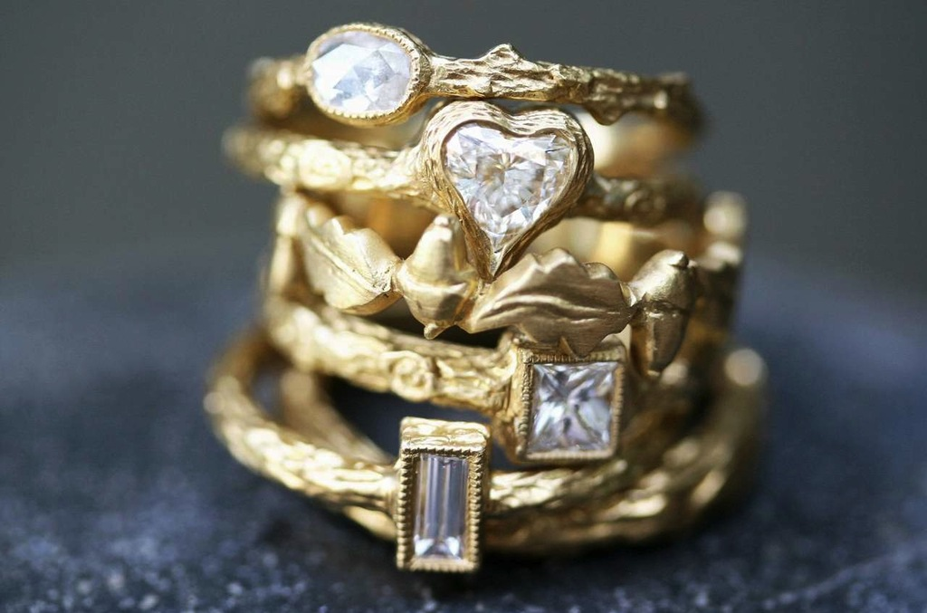 Unique-yellow-gold-wedding-bands-with-diamond-accents-by-cathy-waterman.full
