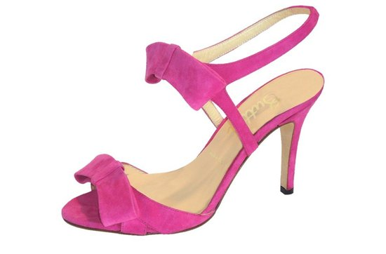 photo of pink suede wedding shoes