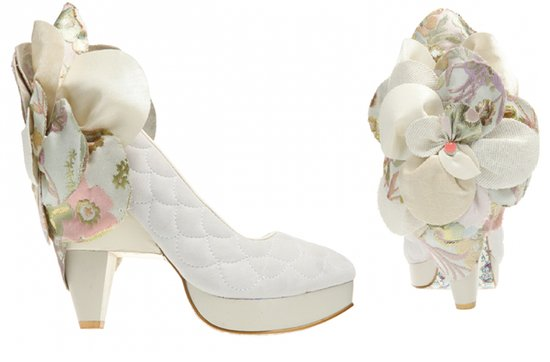 offbeat bridal style quilted white wedding shoes applique