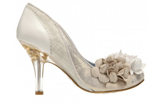 Funky wedding shoes with medium kitten heel and fabric floral rosettes
