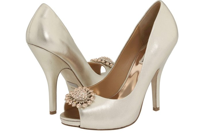 metallic shimmer wedding shoes badgley mischka