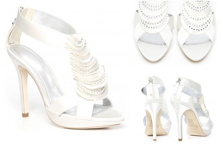 White Satin Wedding Shoes Rhinestone Crystals