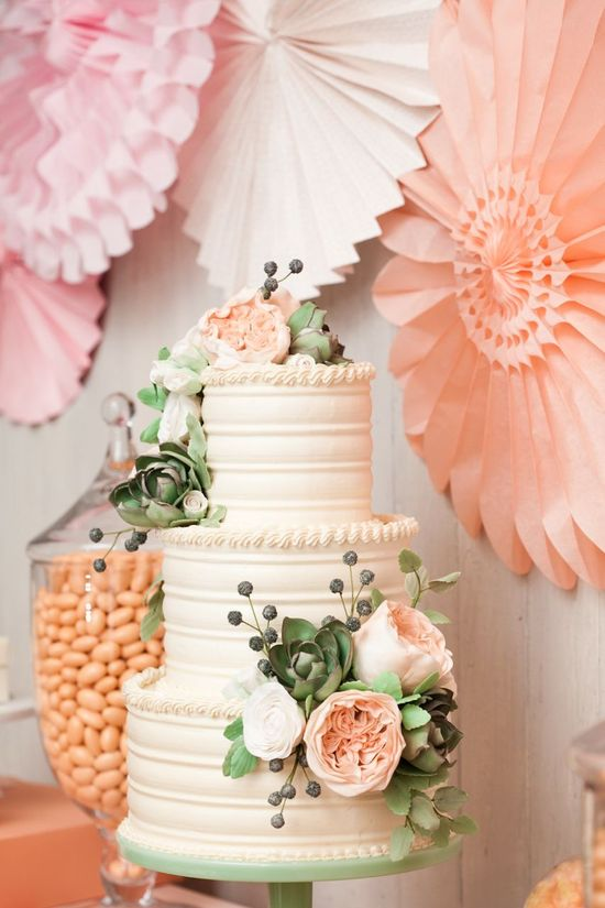 Minted Branch wedding cake in ivory blush and sage
