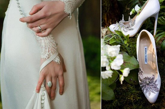 Breaking Dawn Twilight Wedding- Bella's romantic wedding dress and bridal shoes