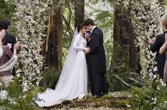Breaking Dawn Twilight Wedding- flower-adorned wedding ceremony arbor
