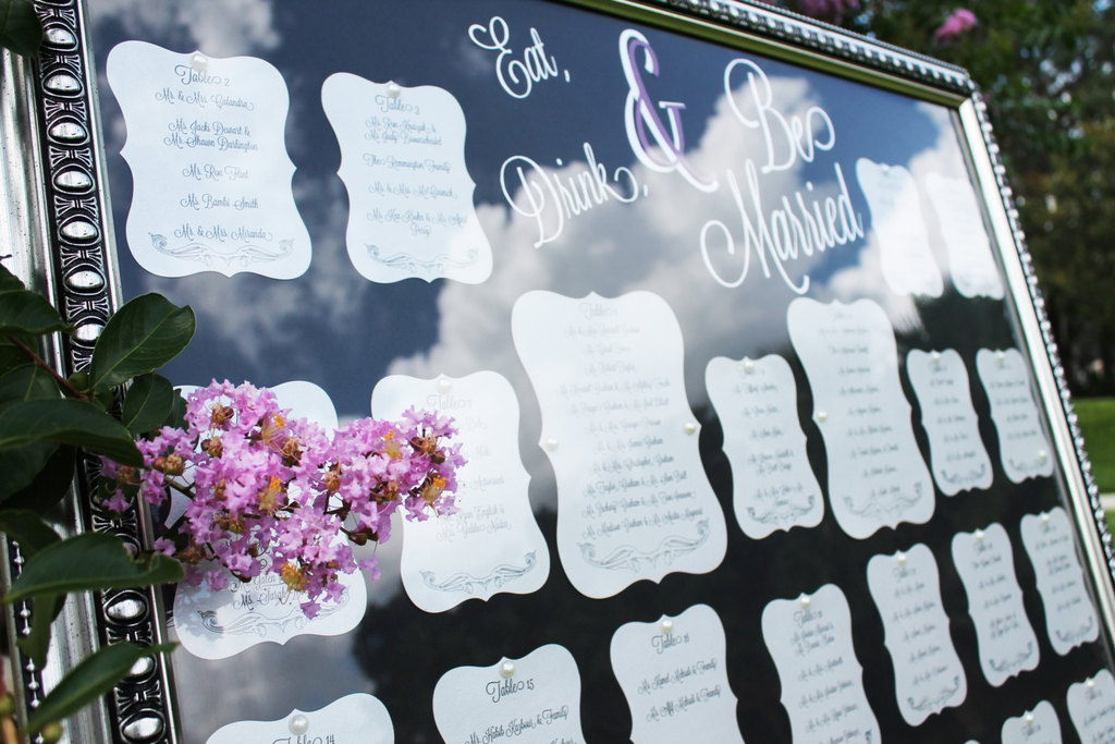 Framed Wedding Table Seating Chart At Outdoor Reception
