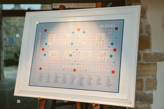 Scrabble wedding seating chart