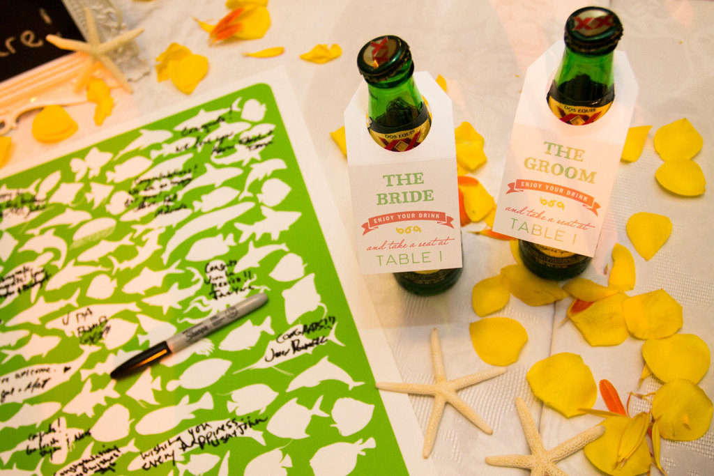 Beer bottle escort cards