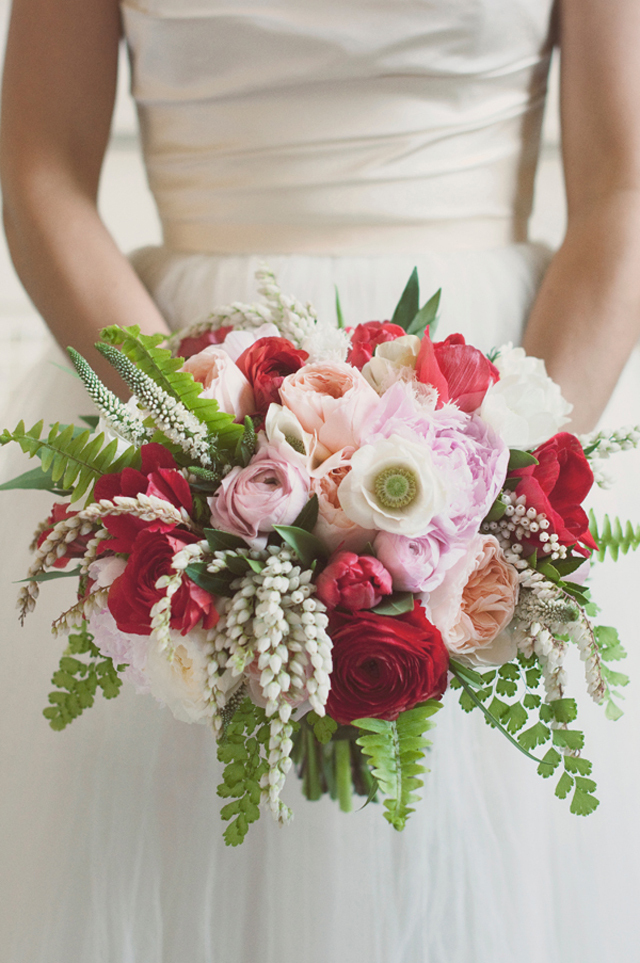 Romantic bridal bouquet in red pink and ivory mightylinksfo