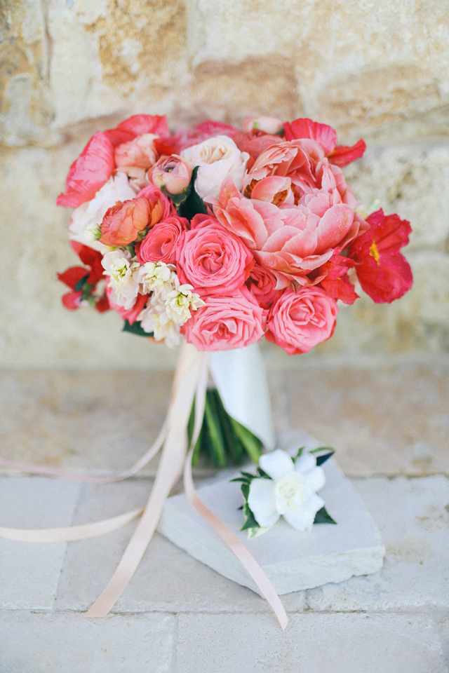 Bright Coral Peony And Rose Wedding Bouquet