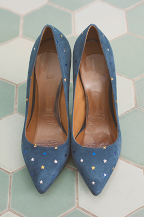 Blue suede wedding shoes with stars