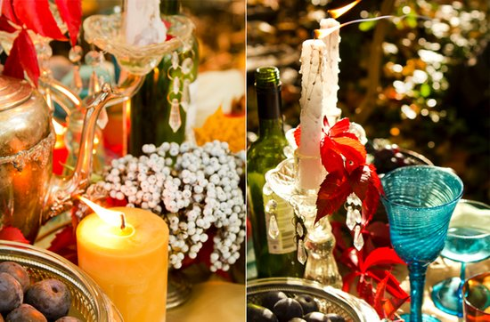 dark romance wedding reception decor centerpieces