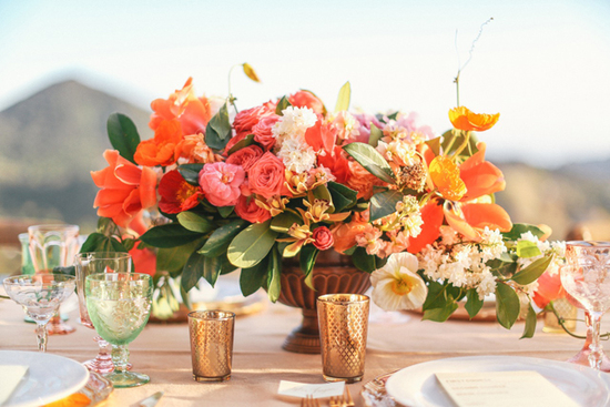 Orange, Gold and Coral wedding flowers and garland
