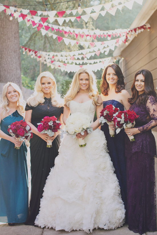 Cacee Cobb + Donald Faison Hitched in LA - Mix n Match Bridesmaids, Rustic Details