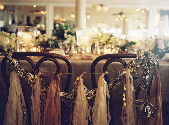 Glamorous New Orleans Wedding - Gilded reception decor and details
