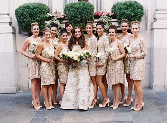 Glamorous New Orleans Wedding - Glittery gold bridesmaids and accessories