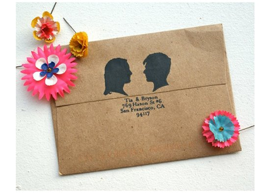 Silhouette wedding invitation inspiration- recycled wedding invite envelope