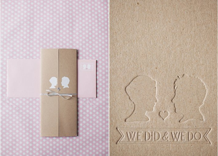 Silhouette wedding invitation inspiration- romantic pink and tan