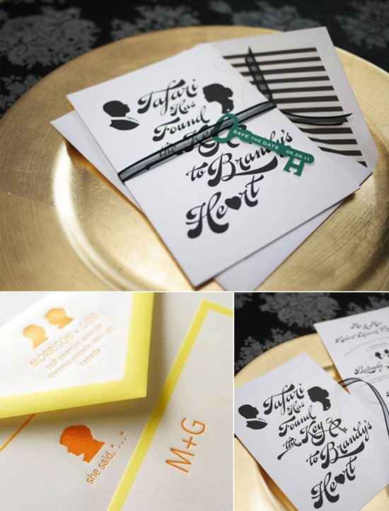 Silhouette wedding invitation inspiration- green, black, white, citrus-inspired stationery design
