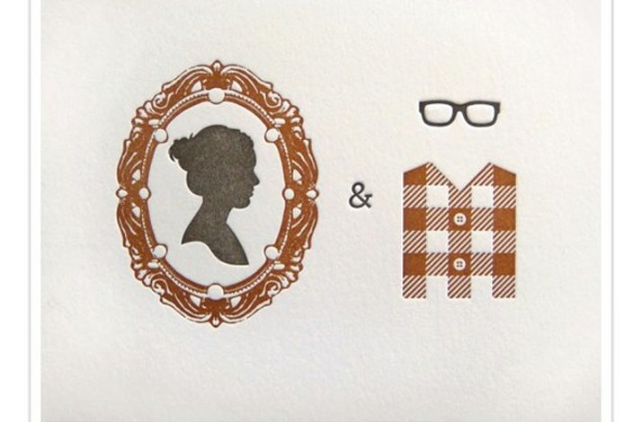 Silhouette wedding invitation inspiration- vintage-inspired letterpress