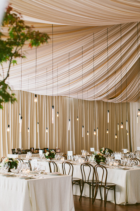 Sophisticated Silicon Valley Wedding - Draped reception venue