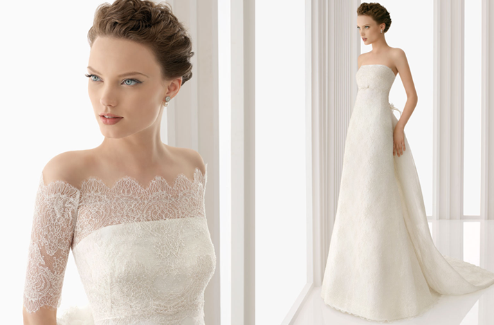Off the shoulder lace wedding dress 2012 rosa clara onewed com