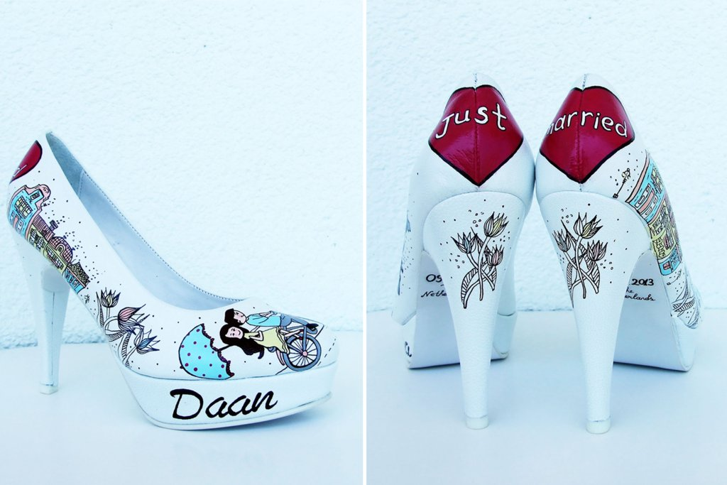 f8c2cece1 Hand painted wedding shoes for offbeat brides