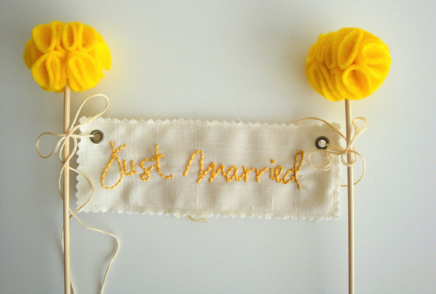 handmade Just Married wedding cake topper in ivory and