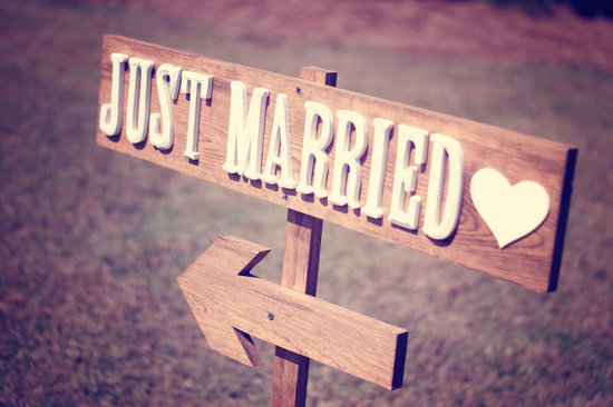 Rustic Just Married wedding reception sign